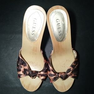 Guess Animal Print Satin Wood Stiletto